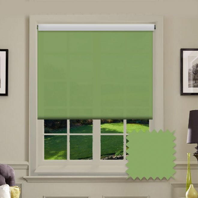 Blackout Green Roller Blind - Astral Grama Plain - Just Blinds